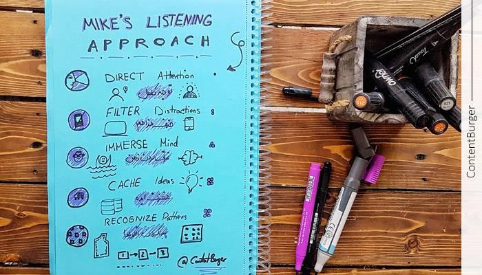 گوش کردن فعالانه و اسکچ نوت